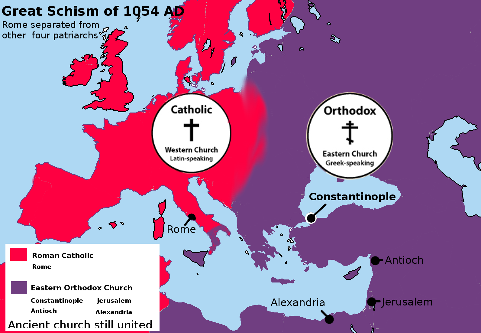 great schism between rome and constantinople